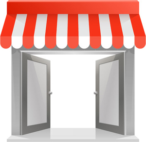 35951438 - store striped awning 3d art. vector illustration
